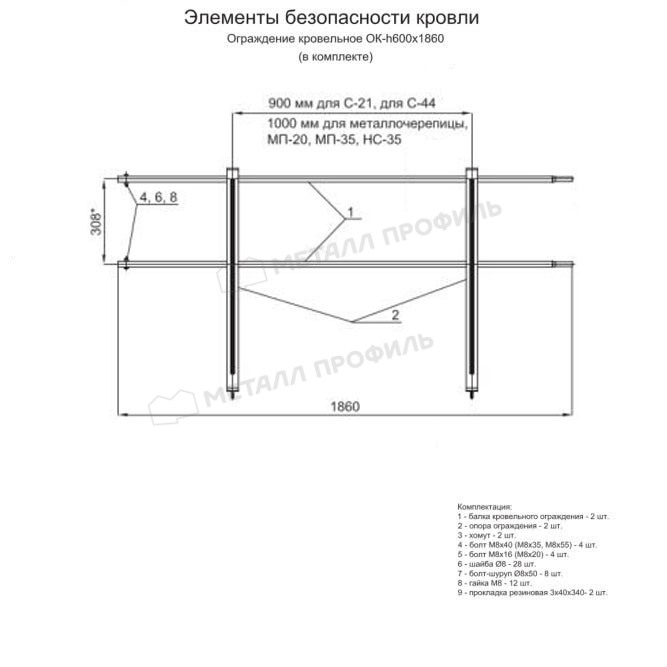 Ограждение кровельное ОК-h600х1860 мм (7005) по цене 1980 руб., приобрести в Москве.